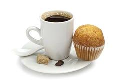 Чашка горячих кофе и пирожного Стоковая Фотография RF