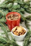 Чашка душистого кофе Рецепт для печениь имбиря Newyear рождество моя версия вектора вала портфолио Стоковое Изображение