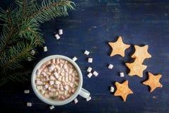 Чашка звезд горячего шоколада и пряника Стоковые Изображения
