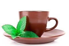 Чашка зеленого чая на поддоннике с мятой Стоковая Фотография RF