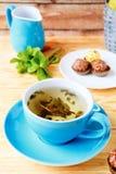 Чашка зеленого чая, противостарителя Стоковое фото RF