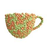 Чашка зеленых и красных яблок Стоковая Фотография