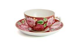 чашка изолировала чай поддонника Стоковые Фото