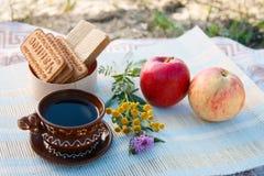 Чашка и поддонник глины Чашка кофе черный кофе Печенья и Waffles Цветы конец вверх взгляд сверху Красный и розовый appl стоковые изображения rf