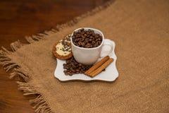 Чашка и поддонник печенья циннамона кофейных зерен белые Стоковые Изображения