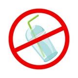 Чашка и соломы стопа предупредительного знака пластиковые расточительствуют изолированную белизну на предпосылке, отходе запрета  иллюстрация вектора
