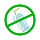 Чашка и соломы стопа предупредительного знака пластиковые расточительствуют изолированную белую предпосылку, отход запрета пласти иллюстрация вектора