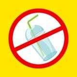 Чашка и соломы стопа предупредительного знака пластиковые расточительствуют изолированную желтую предпосылку, отход запрета пласт иллюстрация штока