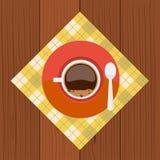 Чашка и sauser с кофе, ложкой пузырей от взгляд сверху Стоковое Изображение