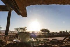 Чашка капучино обозревая намибийскую африканскую саванну вышесказанного стоковое изображение rf