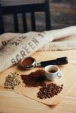 Чашка кофе взгляд сверху и 3 различных разнообразия Стоковые Изображения RF