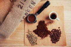 Чашка кофе взгляд сверху и 3 различных разнообразия Стоковое Изображение RF