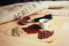 Чашка кофе взгляд сверху и 3 различных разнообразия Стоковая Фотография RF