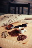Чашка кофе взгляд сверху и 3 различных разнообразия Стоковое Изображение