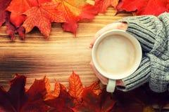 Чашка кофе в руках на деревянной табуретке против backgroun Стоковые Фото