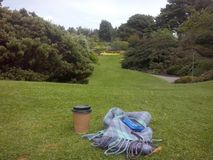 Чашка кофе в садах Эдинбурга стоковое фото rf
