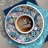 Чашка кофе и нарисованная рукой ванная комната doodles на поддоннике, бумаге и предпосылке Стоковые Изображения