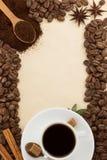 Чашка кофе и пергамент Стоковое Изображение