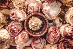 Чашка кофе и чувствительное сушат розовую стоковые изображения