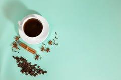 Чашка кофе, кардамон, зерна кофе и циннамон на предпосылке бирюзы Стоковое Изображение
