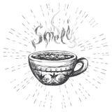 Чашка кофе, нарисованные рукой логотип или знамя на белой предпосылке Стоковая Фотография