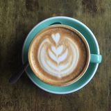Чашка кофе на взгляд сверху Стоковая Фотография RF