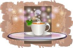 Чашка кофе на стеклянном подносе иллюстрация штока