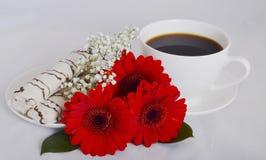 Чашка кофе, печенья и цветки Стоковые Изображения