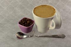 Чашка кофе с зерном молока и семени специй Стоковое Изображение