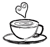 Чашка кофе с иллюстрацией конспекта влюбленности Стоковое Фото