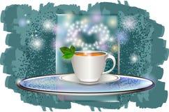 Чашка кофе с поддонником на стеклянном подносе с зеленой предпосылкой иллюстрация вектора