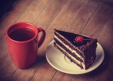 Чашка кофе с тортом Стоковое Изображение