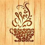 Чашка кофе с элементами флористического дизайна на a Стоковые Фотографии RF