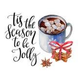 Чашка кофе с zephyr, печеньями кучи, анисовкой и ` Tis фразы сезон, который нужно быть весёлое ` Изолированный объект акварели на иллюстрация штока