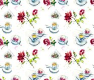 Чашка кофе, торт поленики на кафе и розы Иллюстрация акварели handpainted эскиз бесплатная иллюстрация