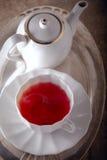 Чашка красного чая плодоовощ с чайником Стоковые Изображения
