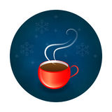 Чашка логотипа или значка или ярлыка красная на предпосылке зимы Стоковые Изображения RF