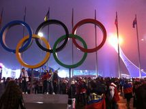 Чашка олимпийского пламени в Сочи, взгляде ночи Стоковые Фотографии RF
