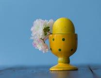 Чашка пасхального яйца крупного плана с яичком и цветками Стоковые Изображения RF