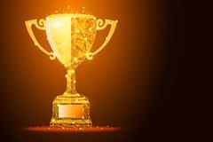 Чашка победителя золотое влияние пыли, с космосом для вашего текста иллюстрация вектора
