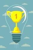 Чашка победителя вектора на предпосылке электрической лампочки Стоковое Фото