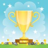Чашка победителя с монетками. Трофей золота Иллюстрация штока