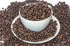 Чашка полная кофейных зерен Стоковые Фотографии RF