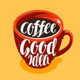Чашка свеже заваренного кофе Питье, кафе, символ кофейни Литерность, иллюстрация вектора каллиграфии иллюстрация вектора