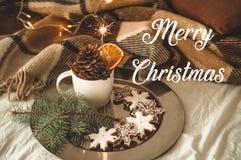 Чашка с конусами и сухой апельсин с бенгальским огнем, ветвью ели, печеньями, уютным связанным одеялом Поздравительная открытка в стоковые изображения rf