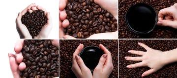 Чашка с кофе и рукой над предпосылкой кофейных зерен Стоковая Фотография RF