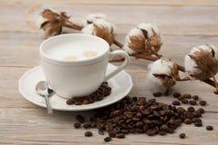 Чашка с кофе молока, кофейных зерен и цветков хлопка Стоковые Фотографии RF