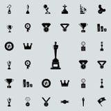 чашка с силуэтом значка человека Sucsess и комплект значков наград всеобщий для сети и черни иллюстрация вектора