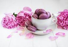 Чашка с сладостными macaroons стоковое фото rf