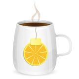 Чашка с чаем и долька лимона Иллюстрация штока